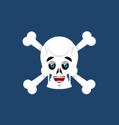Skull and crossbones happy emoji skeleton head vector