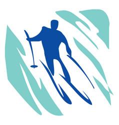 slalom a man on skis vector image