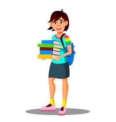 Smiling asian girl student holding books in hand vector