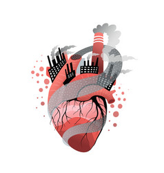 Smoker or polluted environment heart metaphor flat vector