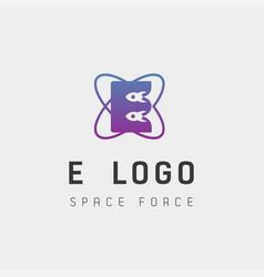 Space force logo design e initial galaxy rocket vector
