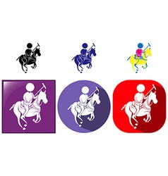 Sport icon for esquestrian in three designs vector image