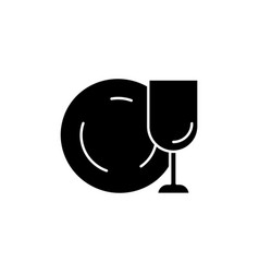 Tableware black glyph icon vector