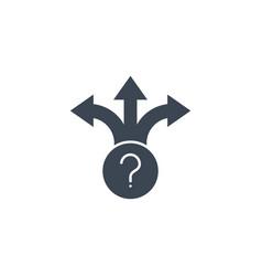 three-way direction arrow glyph icon vector image