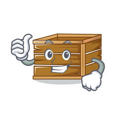 Thumbs up crate character cartoon style vector
