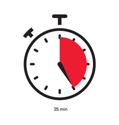 Timer 25 minutes symbol color style vector