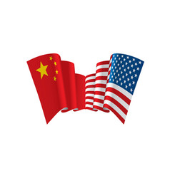 Usa and china flags on white vector