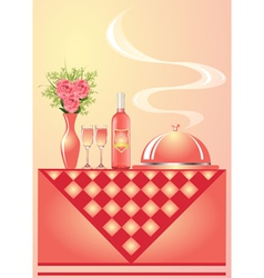 vase with flower wine with goblet and tray vector image