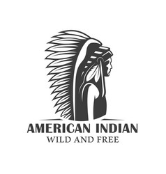vintage logo american indian vector image