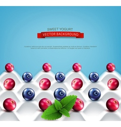 wave yogurt with berries vector image