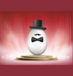 white chicken egg in a hat and a bow tie vector image