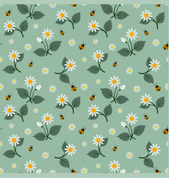 white flowers seamless pattern with ladybug vector image