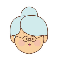 woman elderly face head female cartoon vector image