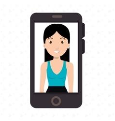 woman girl smartphone icon vector image