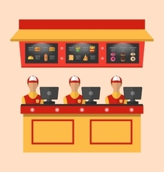 Workers with Cash Register in Cafe vector