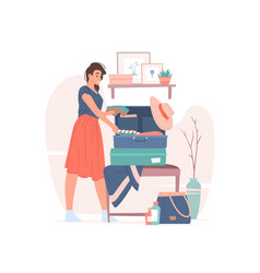 young woman packing luggage for summer trip vector image