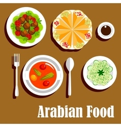 Arabian vegetarian lunch menu flat icon vector