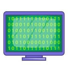 Binary code on screen icon cartoon style vector image