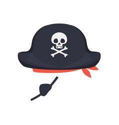 black pirate hat with skull and eye patch vector image