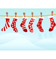 Christmas retro stockings in snowing vector image vector image