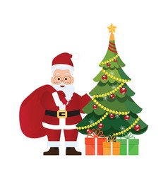 christmas tree and santa claus with bag and gift vector image
