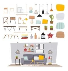 Furniture interior and home decor concept icon set vector image