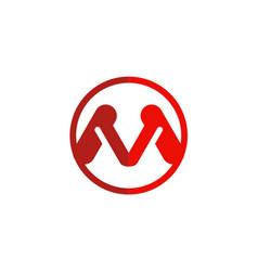 letter m red logo vector image