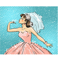 pop art of bride looking at vector image vector image