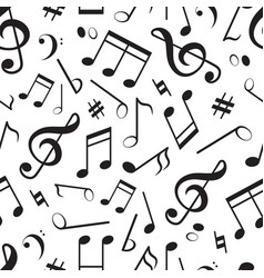 seamless pattern with different music notes vector image vector image