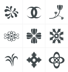 Set hand drawn black silhouettes flowers Icons vector image