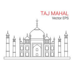 taj mahal india line flat icon isolated vector image vector image