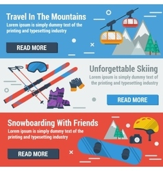 Three banners skiing and snowboarding vector image