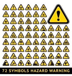 Triangular Warning Hazard Symbols Big yellow set vector image