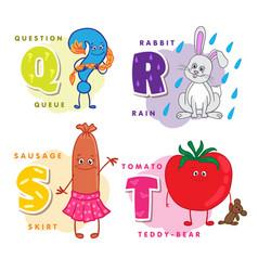 alphabet children colored letter q r s t vector image