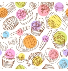Assorted outlined colorful desserts Seamless vector image