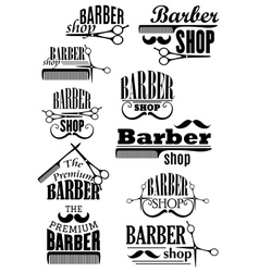 Black vintage barber shop logo and emblems vector image vector image
