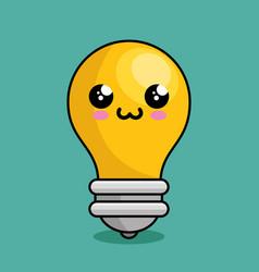 Bulb light character kawaii vector