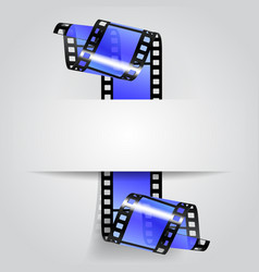 Paper banner with a blue curled film strip vector