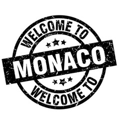 welcome to monaco black stamp vector image vector image