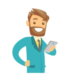 young businessman looking at mobile phone vector image