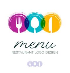 abstract restaurant menu logo design vector image vector image