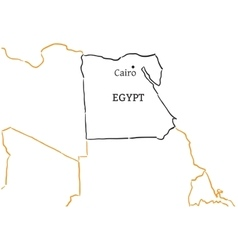 Egypt hand-drawn sketch map vector image