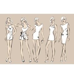 Fashion models in sketch style vector image