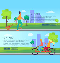 city park collection of cartoon posters with text vector image