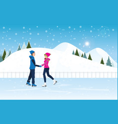 couple skating on ice rink on cityscape landscape vector image vector image