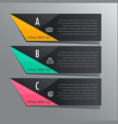 dark theme three steps infographic banners with vector image vector image
