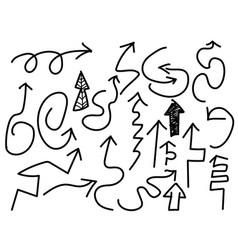 doodle black arrows set vector image