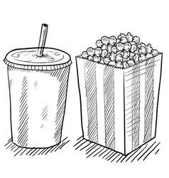 doodle soda popcorn vector image