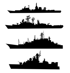 Four silhouettes of a ship vector image vector image