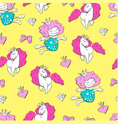 lovely princesses and unicorns with hearts with vector image vector image